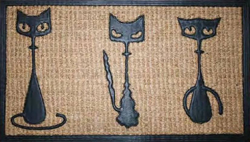 Rohožka Kokos + guma 3 kočky - 40x70 cm