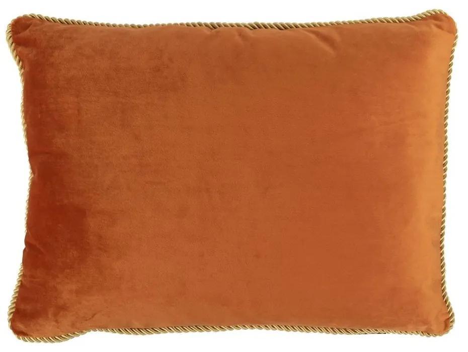 Zamatový zlate oranžový vankúš Golly - 35 * 45 * 10cm
