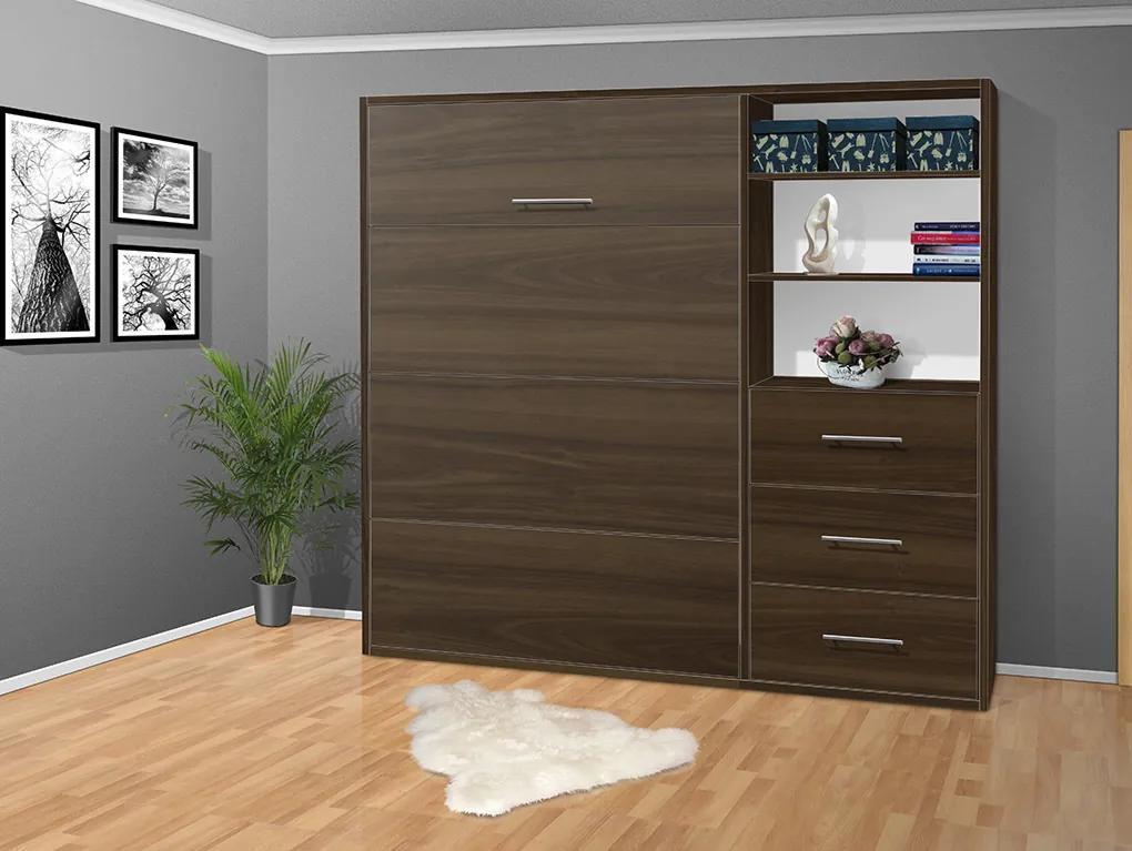 Nabytekmorava Sklápacia posteľ VS 2054 P - 200x160 cm nosnost postele: štandardná nosnosť, farba lamina: orech 729