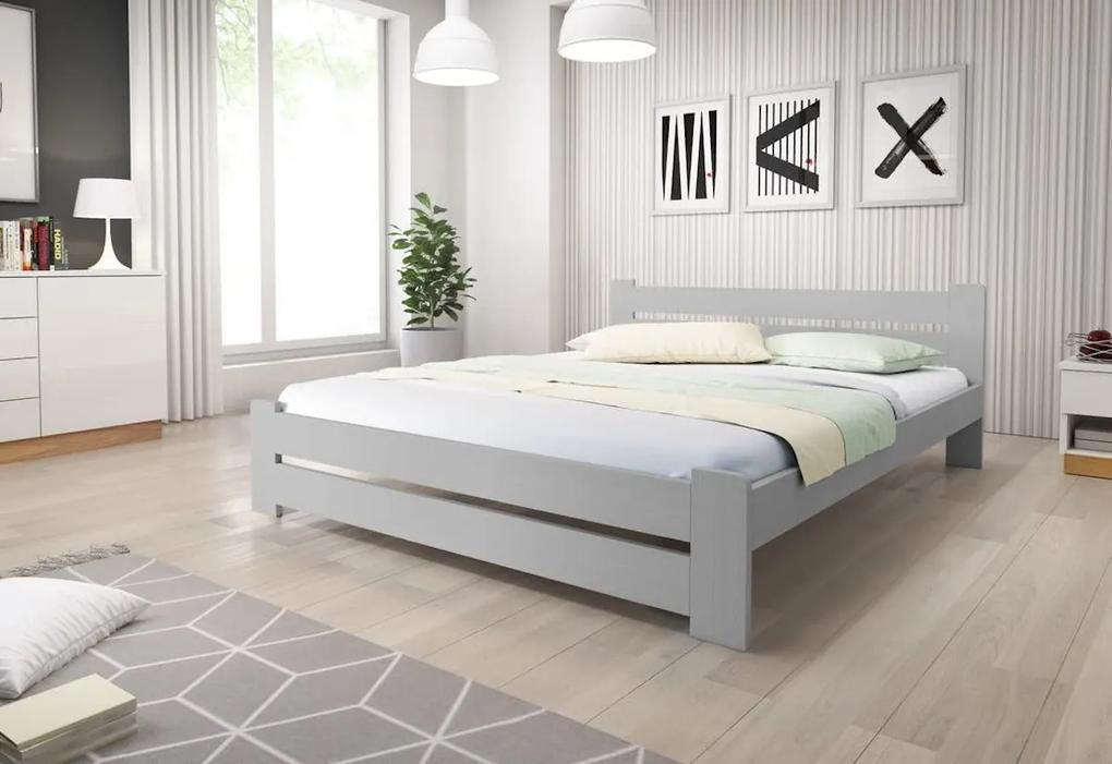 Posteľ z masívu HEUREKA + sendvičový matrac MORAVIA 16 cm + rošt 140 x 200 cm, šedá