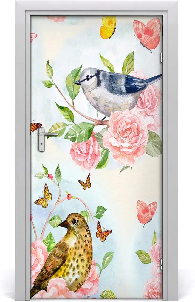Samolepící fototapeta na dveře Ptáci motýli růže