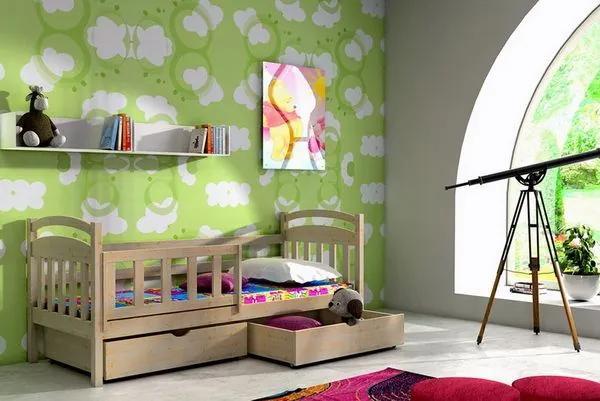 MAXMAX Detská posteľ z masívu 200x80cm so zásuvkou - DP001 200x80 ÁNO