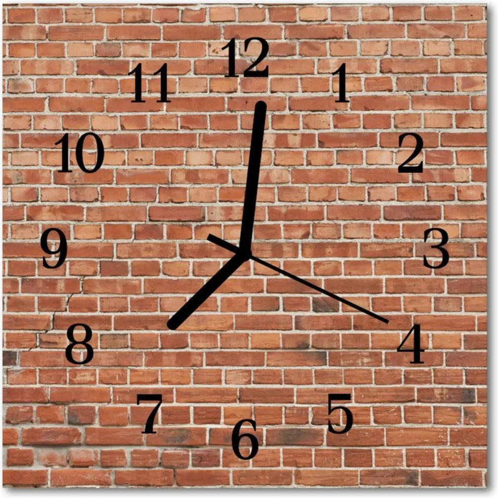 Skleněné hodiny čtvercové Cihlová zeď