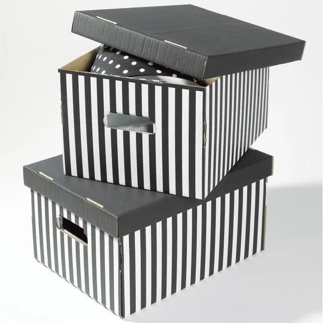 Sada 2 čiernych úložných škatúľ Compactor Stripes