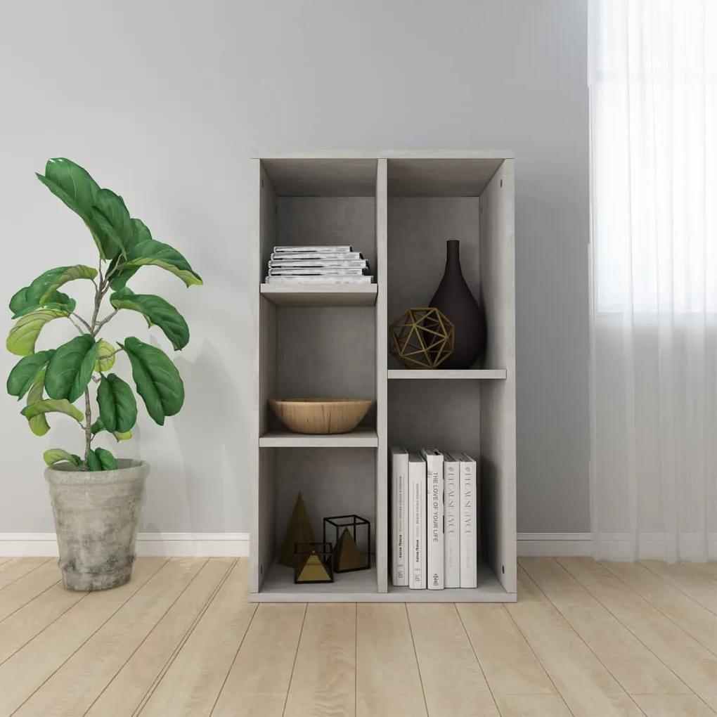 vidaXL Knižnica/komoda, betónovo sivá 50x25x80 cm, drevotrieska
