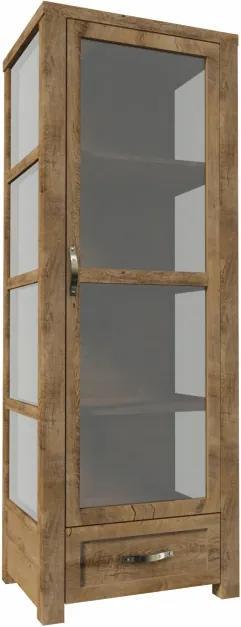 Vitrína jednodverová presklenná, s jednou zásuvkou, dub lefkas, NEVADA