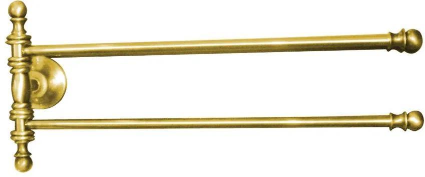 Perla PE0175 otočný držiak na uteráky dvojitý 390mm, zlato