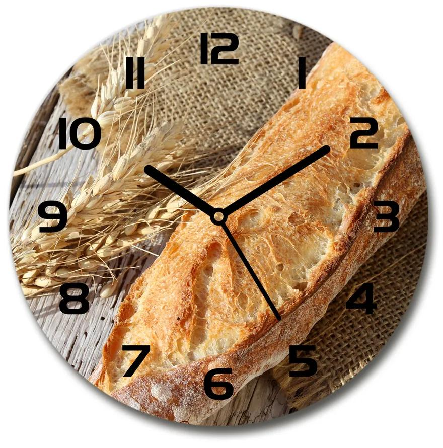 Sklenené hodiny okrúhle Čerstvá bageta pl_zso_30_f_117848104