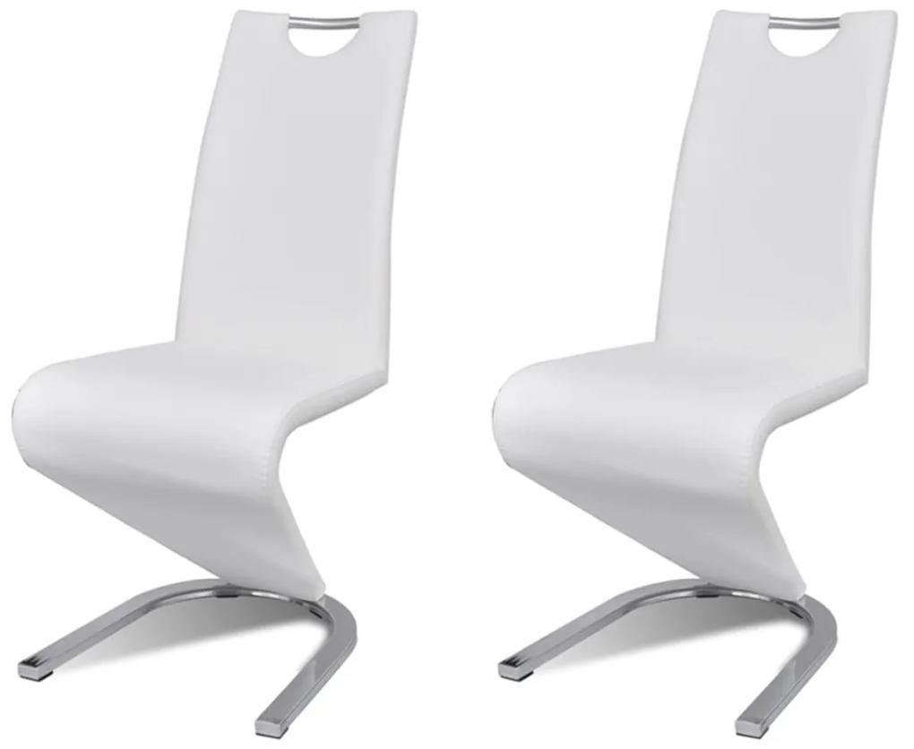Sada bielych konzolových stoličiek z koženky v tvare U, 2 ks