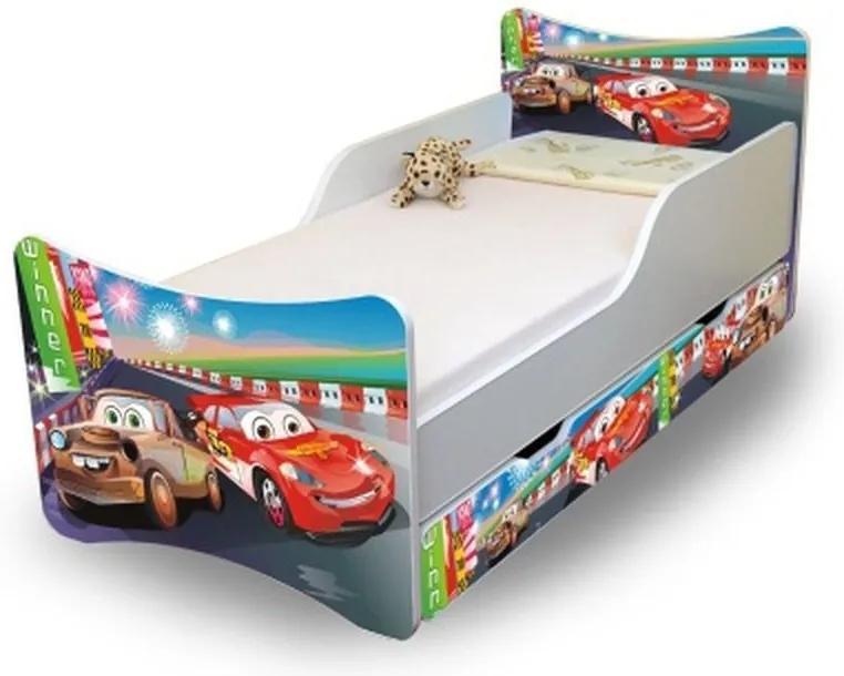 MAXMAX Detská posteľ so zásuvkou 200x80 cm - AUTA II. 200x80 pre chlapca ÁNO