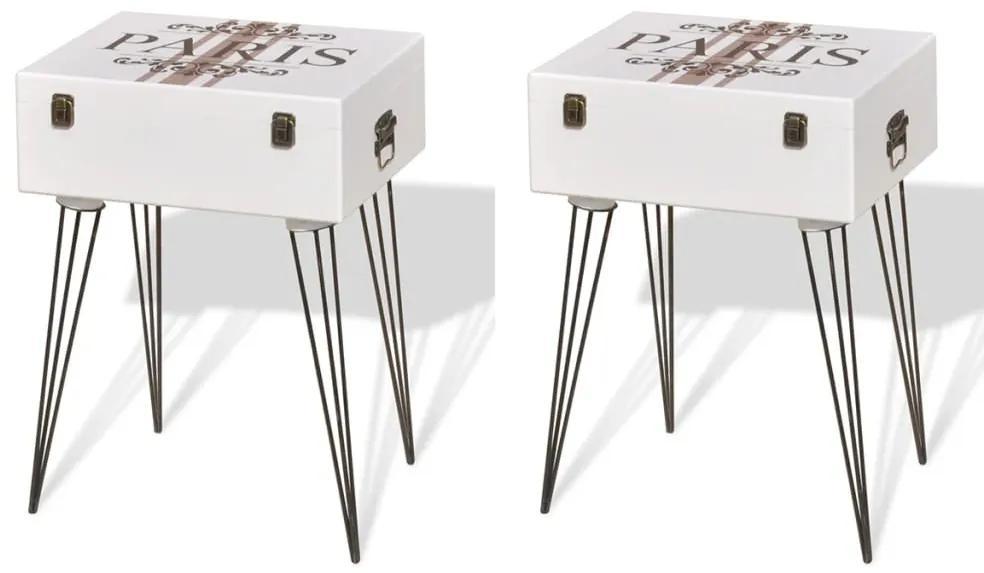vidaXL Nočné stolíky 2 ks biele 40x30x57 cm
