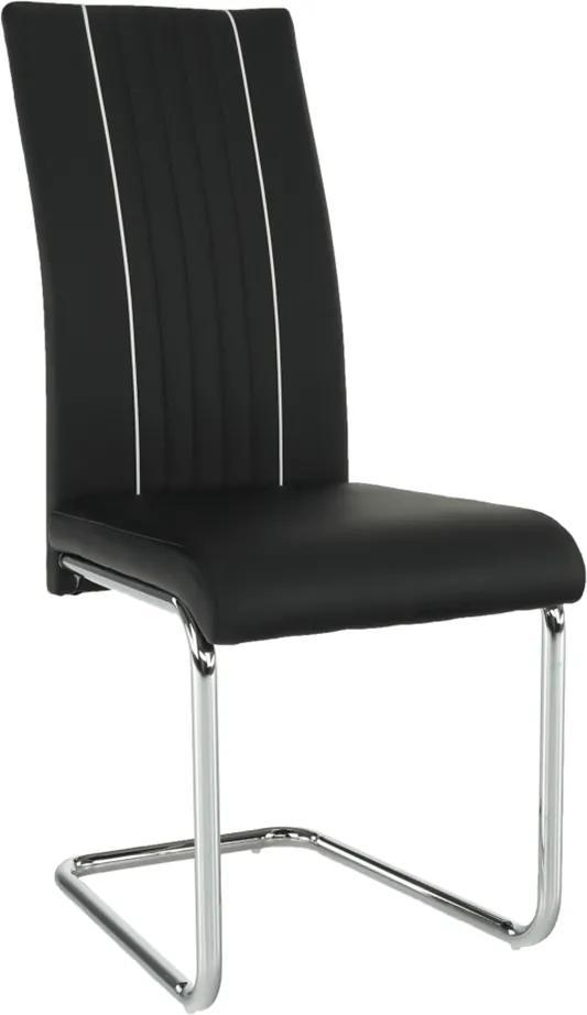 Jedálenská stolička, ekokoža čierna/biela/chróm, LESANA