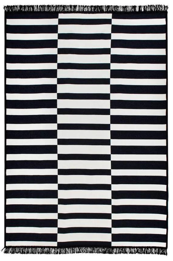 Čierno-biely obojstranný koberec Poros, 80 × 150 cm