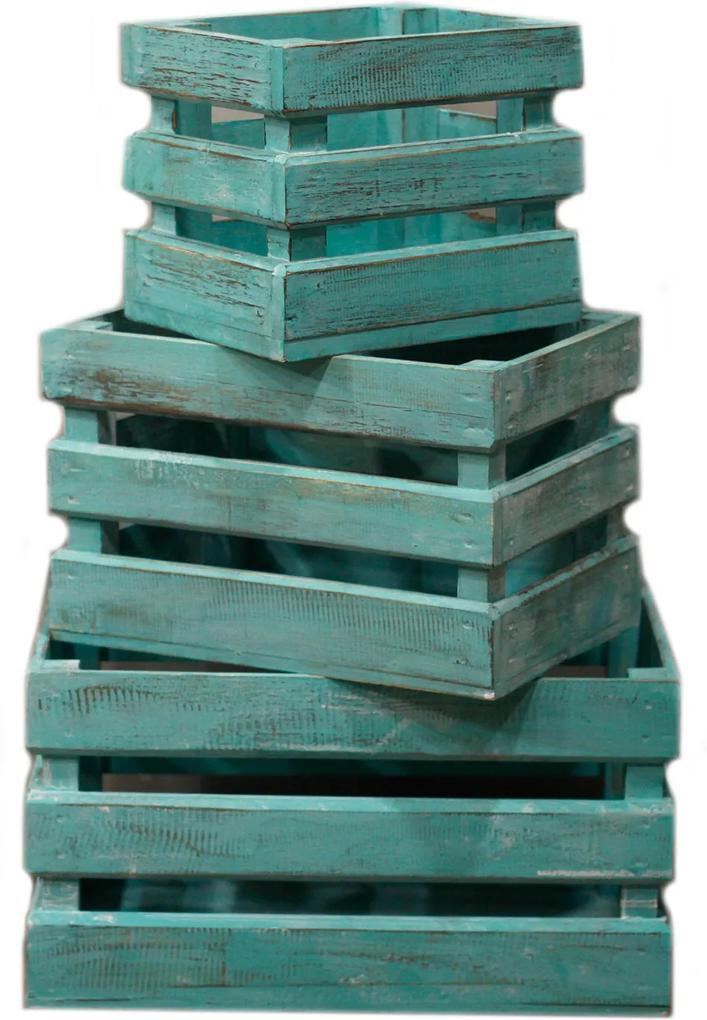 Dekoračné debničiek - Zelená vymývaná