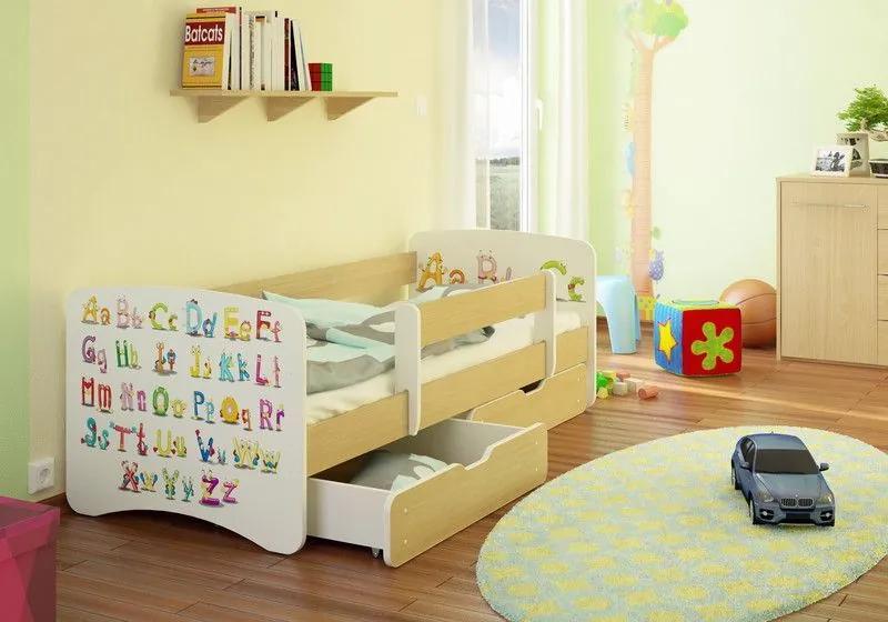 MAXMAX Detská posteľ ABECEDA funny 180x80 cm - sa zásuvkou 180x80 pre všetkých ÁNO