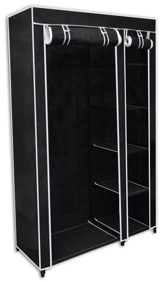 vidaXL Skladací šatník, čierny 110 x 45 x 175 cm