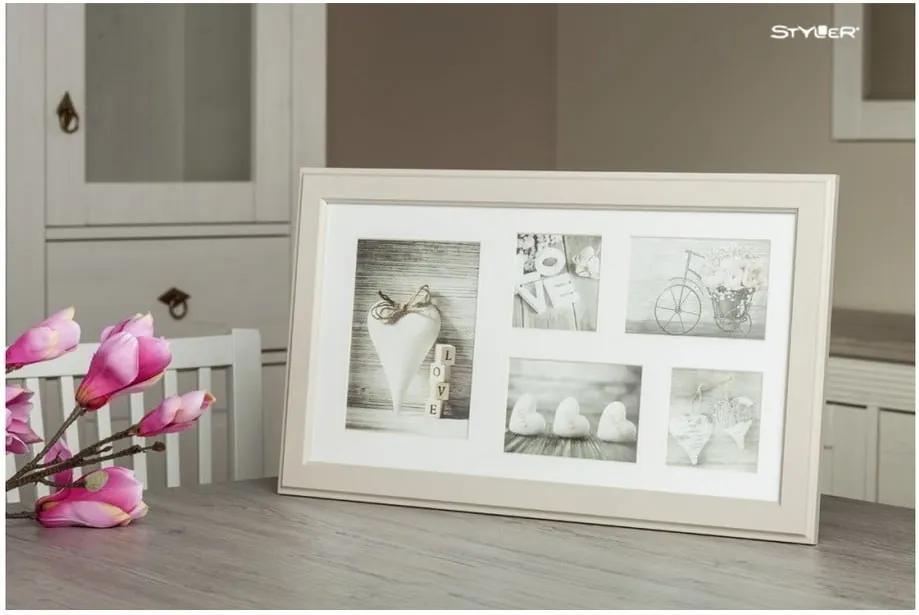 Béžový rámček na 5 fotografií Styler Malmo, 51 × 27 cm