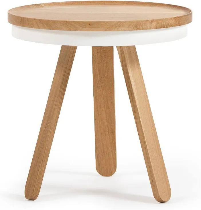 Prírodno-biely odkladací stolík z dubového dreva s podnosom Woodendot Batea  S ... 23c4bd87c11