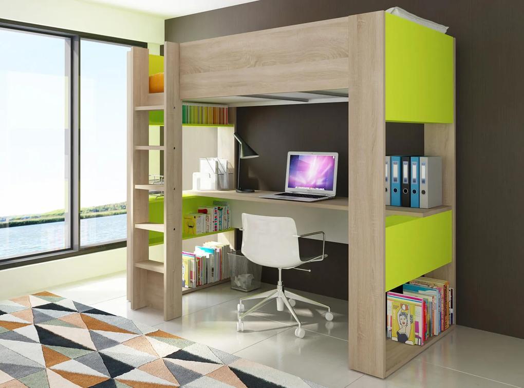 467e9dc56469 Poschodová posteľ s písacím stolom B - zelená
