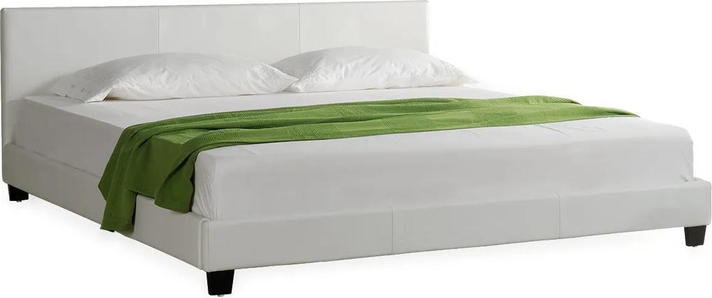 Corium® Moderná manželská posteľ, čalúnená - koženka 140x200cm (biela)