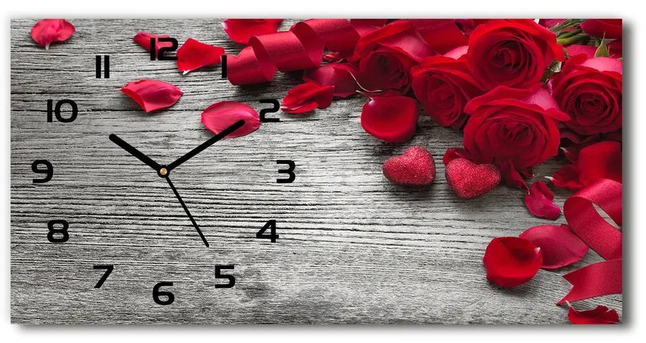 Sklenené hodiny na stenu tiché Červené ruže pl_zsp_60x30_f_99989329