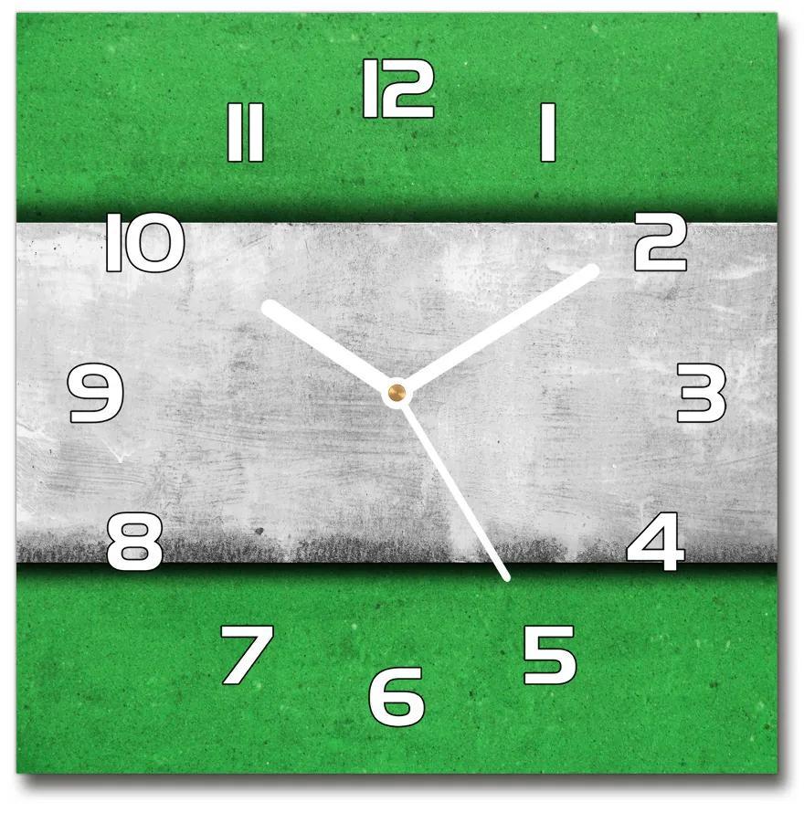 Sklenené hodiny štvorec Zelená múr pl_zsk_30x30_f_51823590