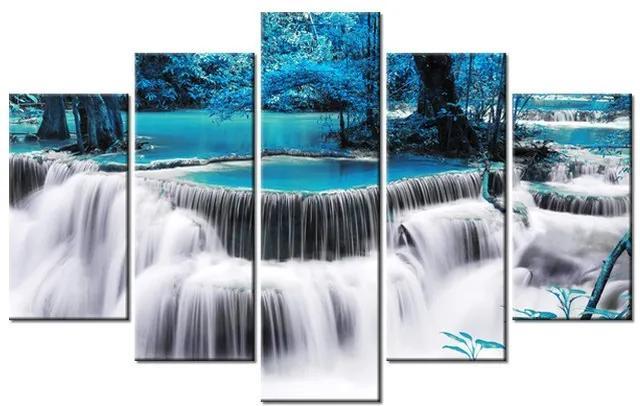 Tlačený obraz Vodopád Dong Pee Sua Blue v Thajsku 100x63cm 2487A_5D