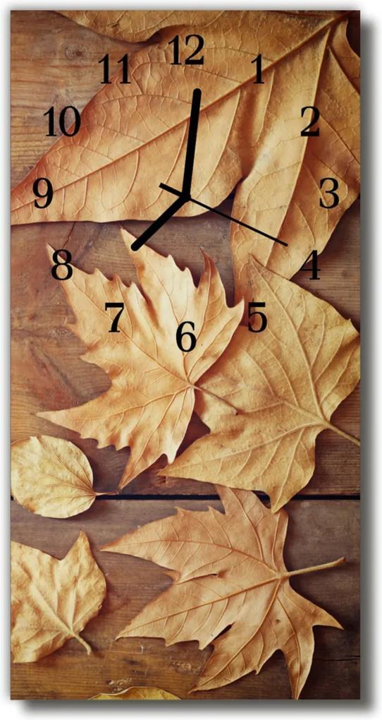 Skleněné hodiny vertikální Příroda, hnědé listy