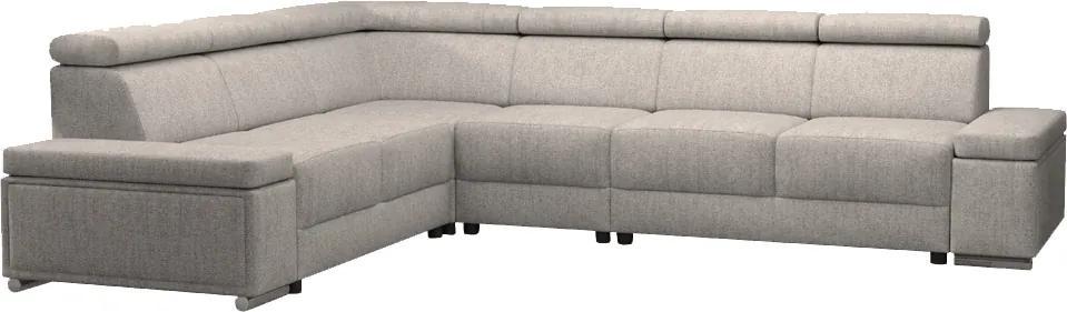 KONDELA Boby L rohová sedačka so záhlavím sivobéžová (taupe)
