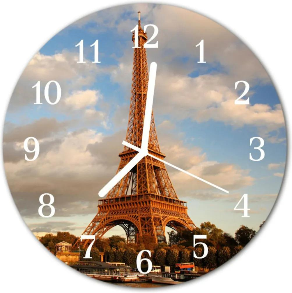 Nástenné skleněné hodiny Paříž