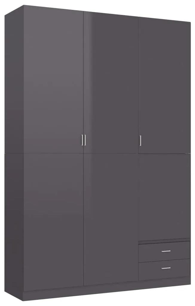 vidaXL 3-dverový šatník, lesklý sivý 120x50x180 cm, drevotrieska