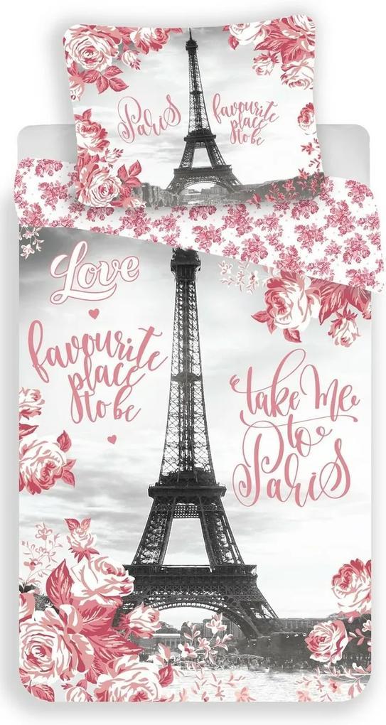 Jerry Fabrics Bavlnené obliečky Paris roses, 140 x 200 cm, 70 x 90 cm