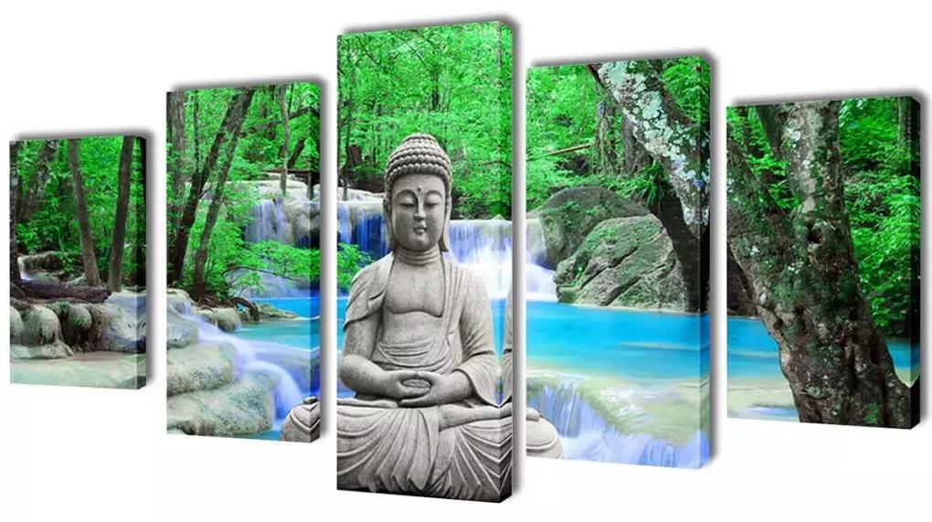vidaXL Sada obrazov na stenu, motív Buddha 200 x 100 cm
