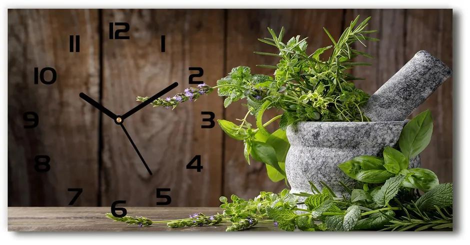 Sklenené hodiny na stenu Bylinky v mažiari pl_zsp_60x30_f_65235684