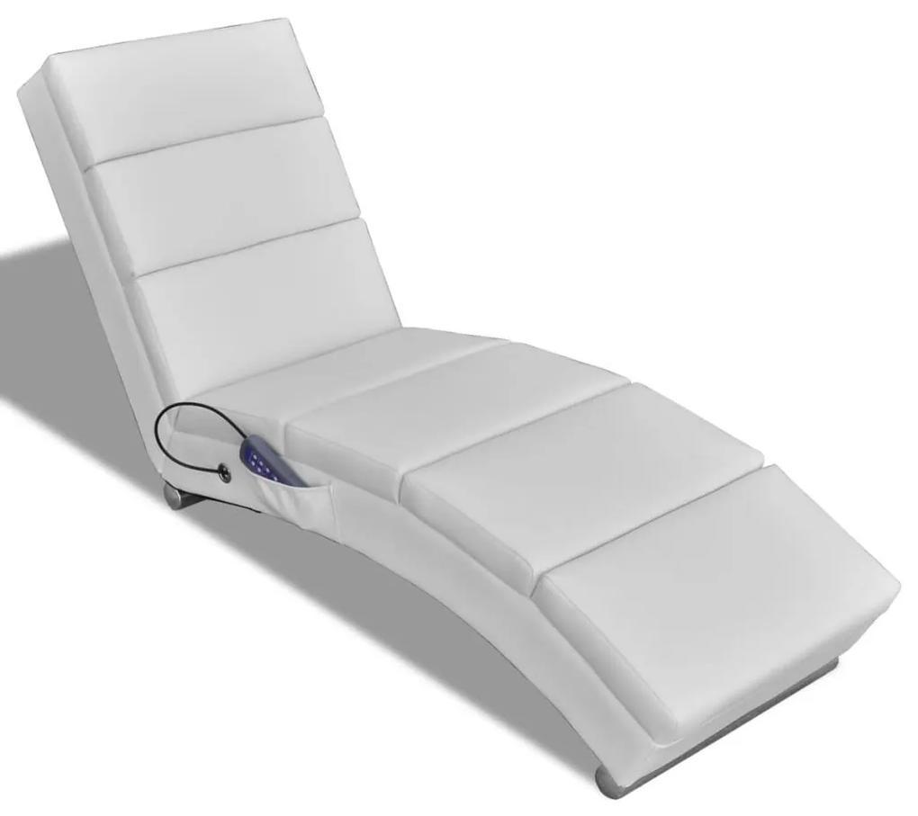 vidaXL Sklápacie masážne kreslo, biele, umelá koža