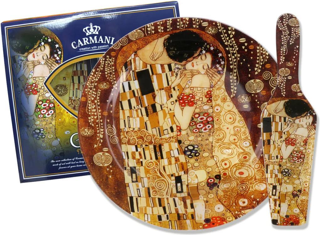 Sklenená tácka okrúhla 27 cm s lopatkou Gustav  Klimt The Kiss, CARMANI