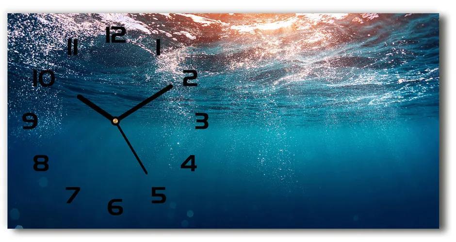 Sklenené hodiny na stenu tiché Podvodný svet pl_zsp_60x30_f_80591143