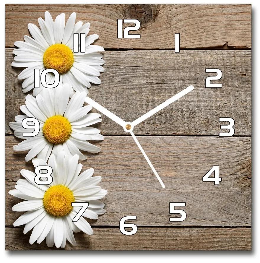 Sklenené hodiny štvorec Sedmokrásky drevo pl_zsk_30x30_f_65736440