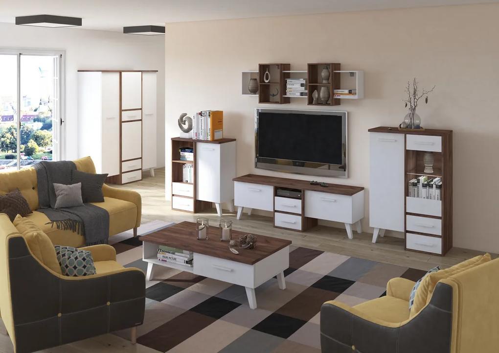MEBLOCROSS Nordis obývacia izba craft tobaco / biela