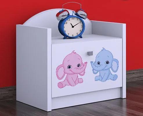 MAXMAX Detský nočný stolík slonica - TYP 2 pre dievča