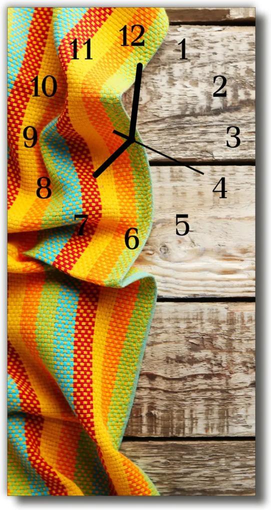 Skleněné hodiny vertikální Barevné dřevěné tkaniny
