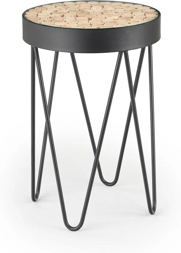HALMAR Naturo okrúhly konferenčný stolík čierna