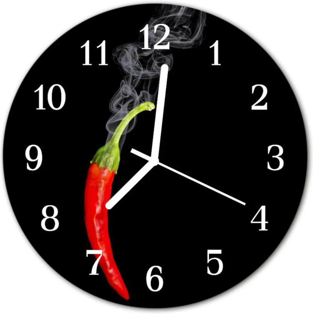 Sklenené hodiny okrúhle  chilli korenie