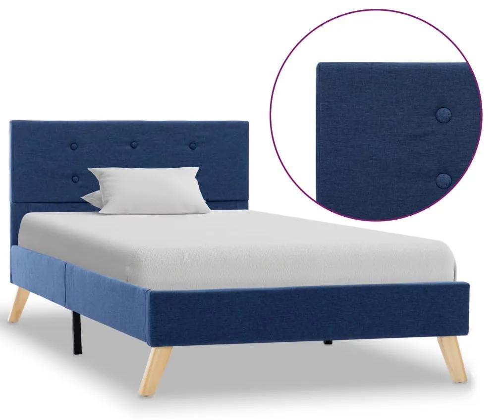 vidaXL Rám postele modrý 100x200 cm látkový