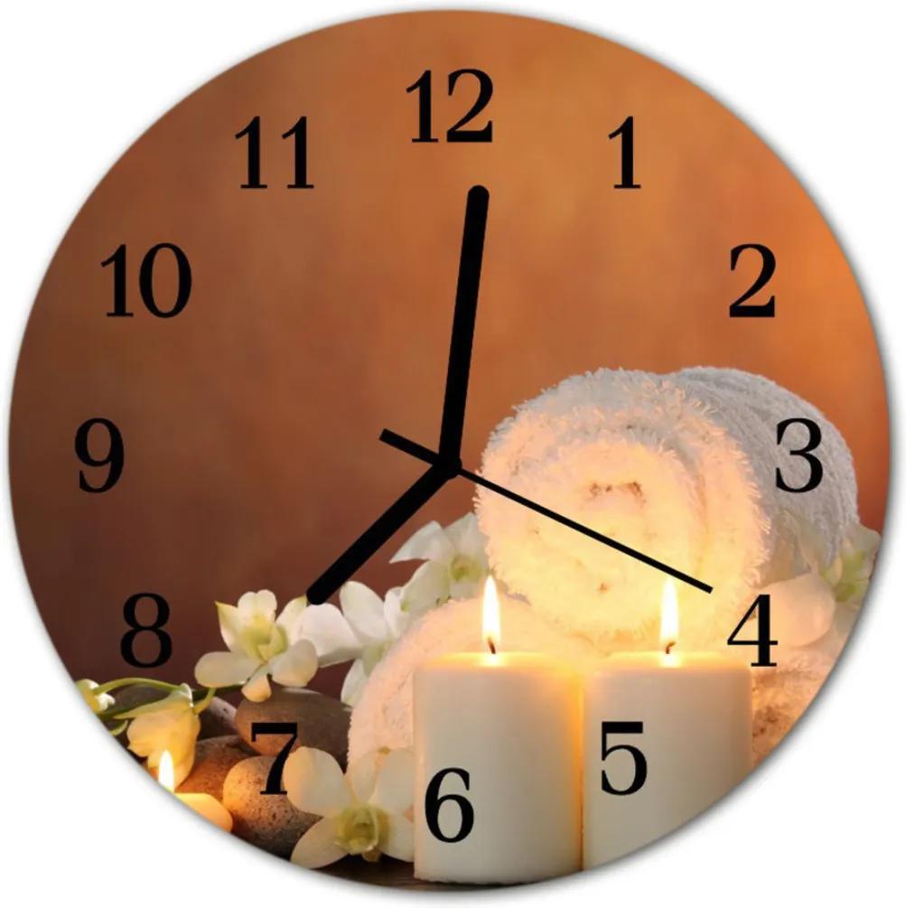 Skleněné hodiny kulaté Lázeňské svíčky