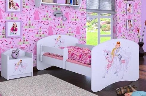 MAXMAX Detská posteľ bez šuplíku 140x70cm PRINC NA BIELOM KONI