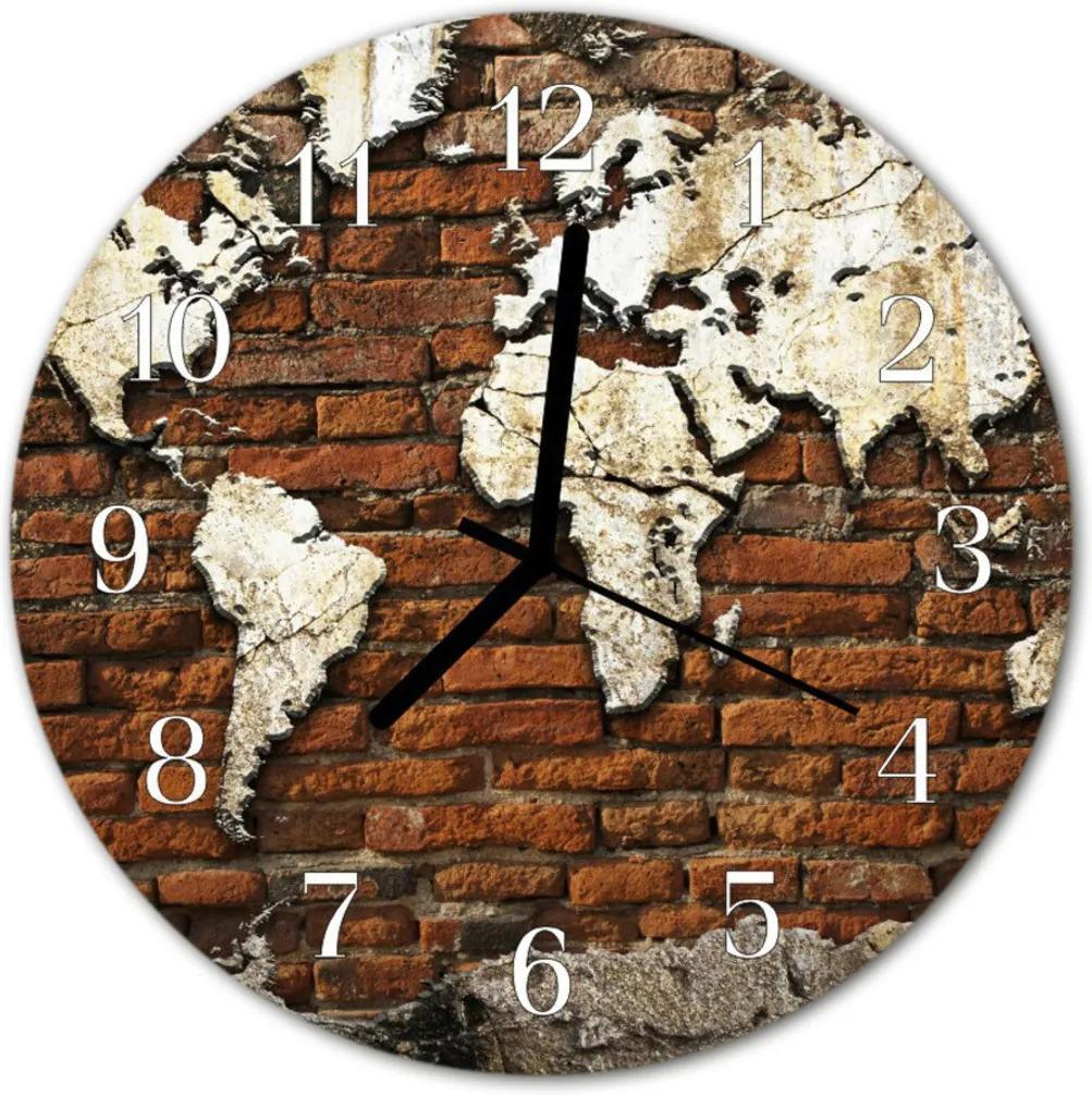 Nástenné skleněné hodiny světadíly