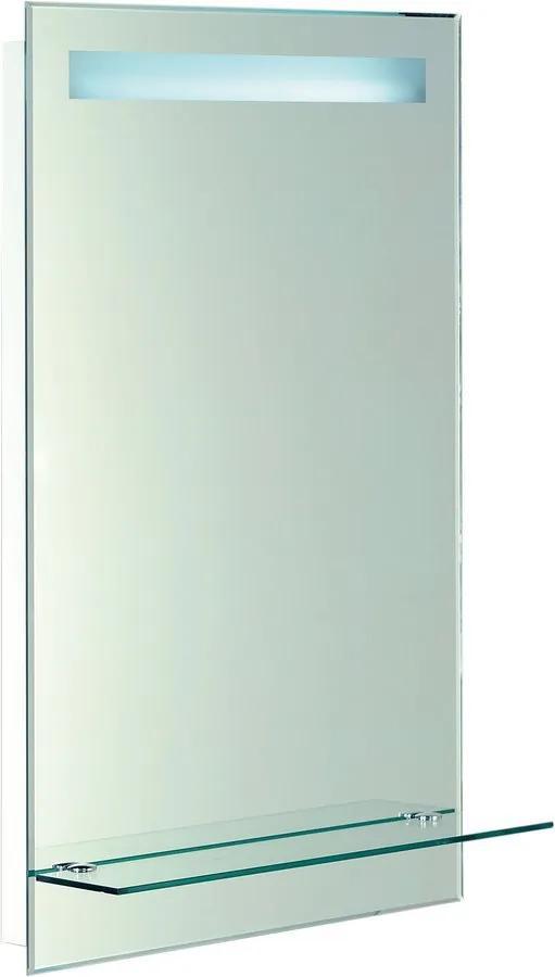 Aqualine ATH52 zrkadlo s LED osvetlením 50x80 cm, sklenená polica, gombíkový vypínač