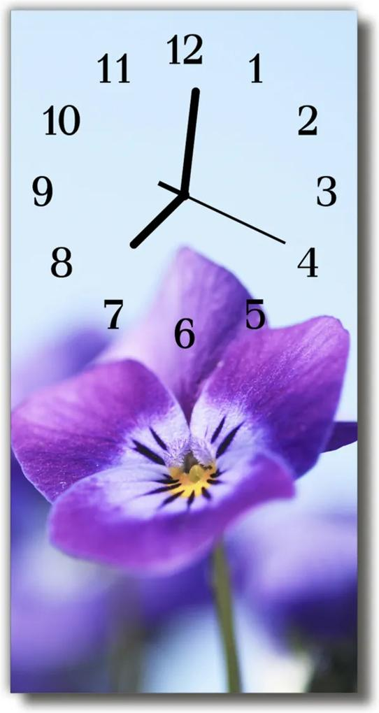 Skleněné hodiny vertikální Květy, fialový květ