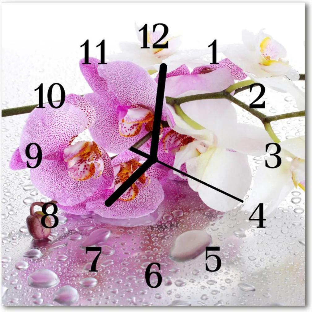 Nástenné skleněné hodiny orchidej
